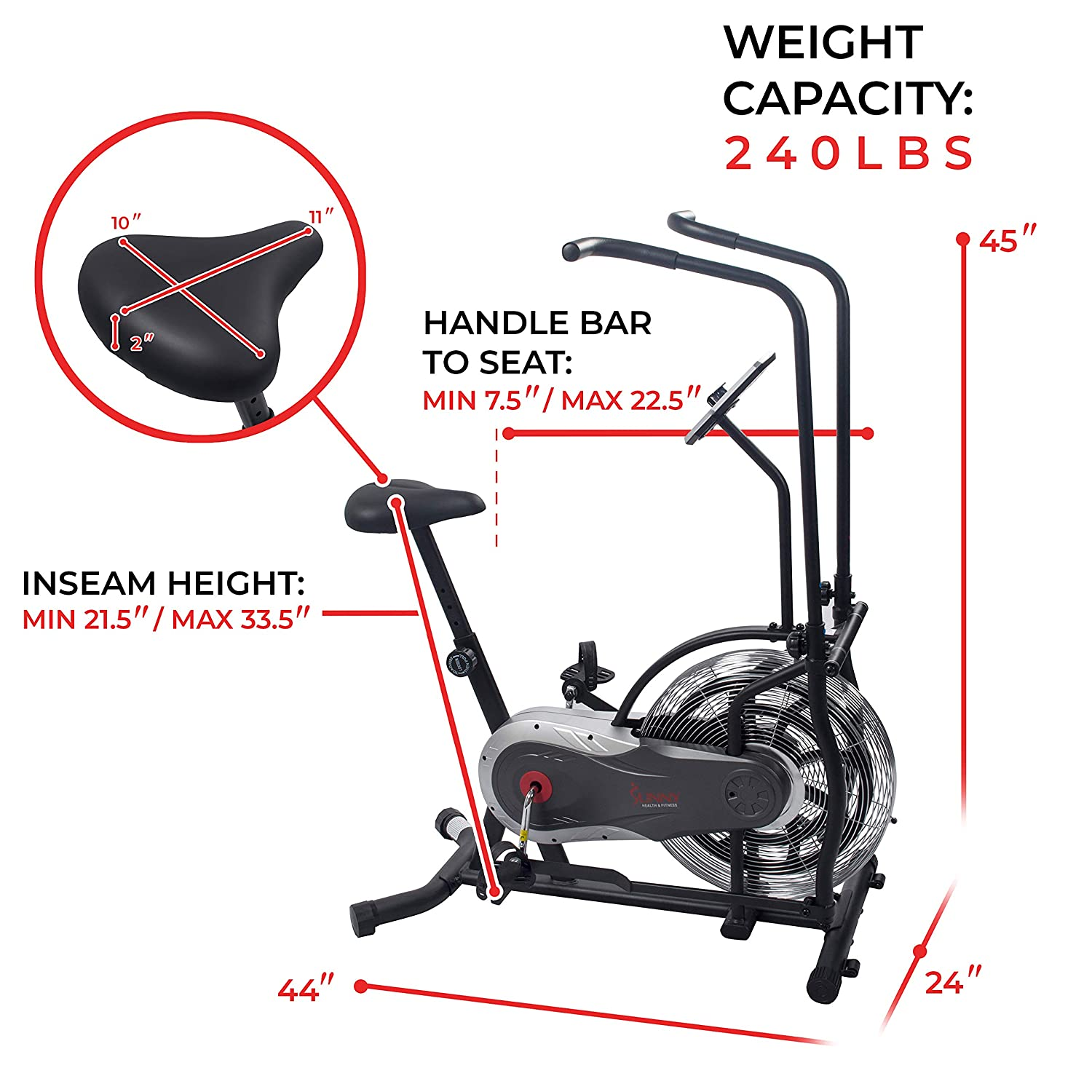 Amazon.com: SUNNY Health & Fitness Zephyr Air Bike ...