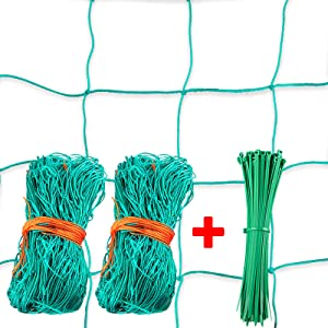 AUSTOR 2 Packs Heavy-Duty Garden Plant Trellis Netting Plant Vine Climbing Net Garden Netting for Fruits and Vegetables with 100 Pcs Zip Ties (4