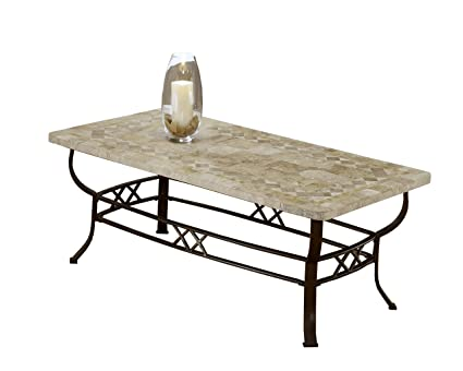 Superieur Hillsdale 4815OTC Brookside Fossil Stone Coffee Table, Brown Powder Coat