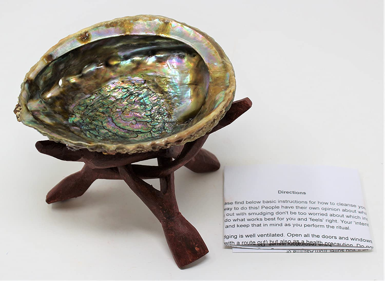 Rainbow Records Abalone Smudge Kit Large Shell 6 Stand and Directions