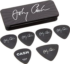 Dunlop JCPT03M Johnny Cash Signature Pick Tin, Assorted, Medium, 6 Picks/Tin