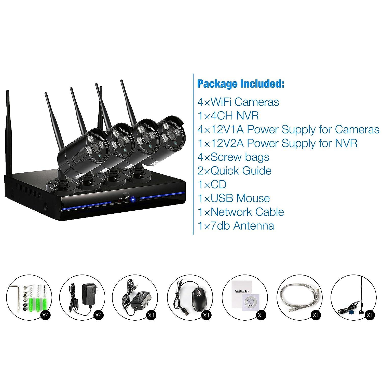 Kit Cámaras de Vigilancia NVR Exterior / Interior 10800P, 1TB HDD, Visión Nocturna, Detector de Movimiento, IP66 Impermeable, Sistema Seguridad ...