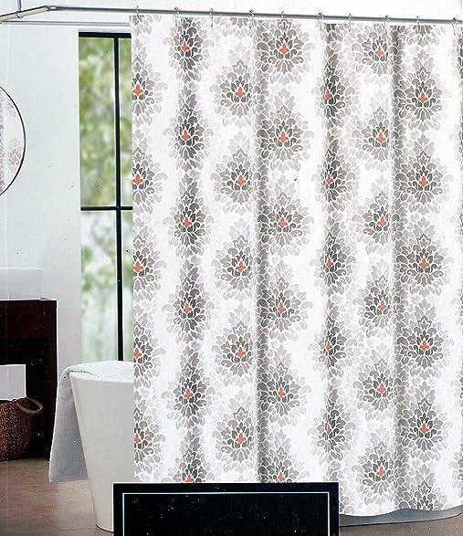 orange floral shower curtain. Cynthia Rowley Fabric Shower Curtain Beige  Brown And Orange Floral Flame Flower Amazon Com