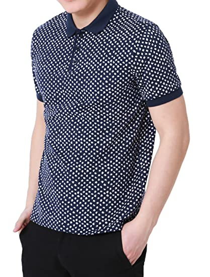 d566fca5b259 Allegra K Men Allover Letters Print Point Collar Short Sleeves Golf Polo  Shirts at Amazon Men's Clothing store: