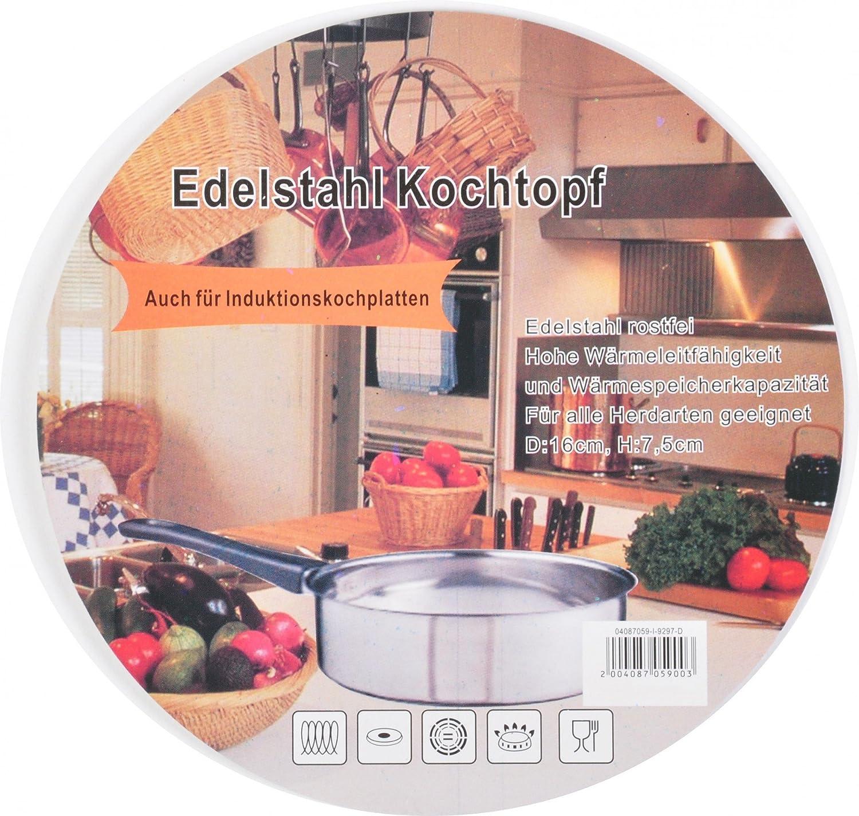 Edelstahl Kochtopf 16 cm Stielkasserolle Stieltopf Milchtopf So/ßentopf Induktion