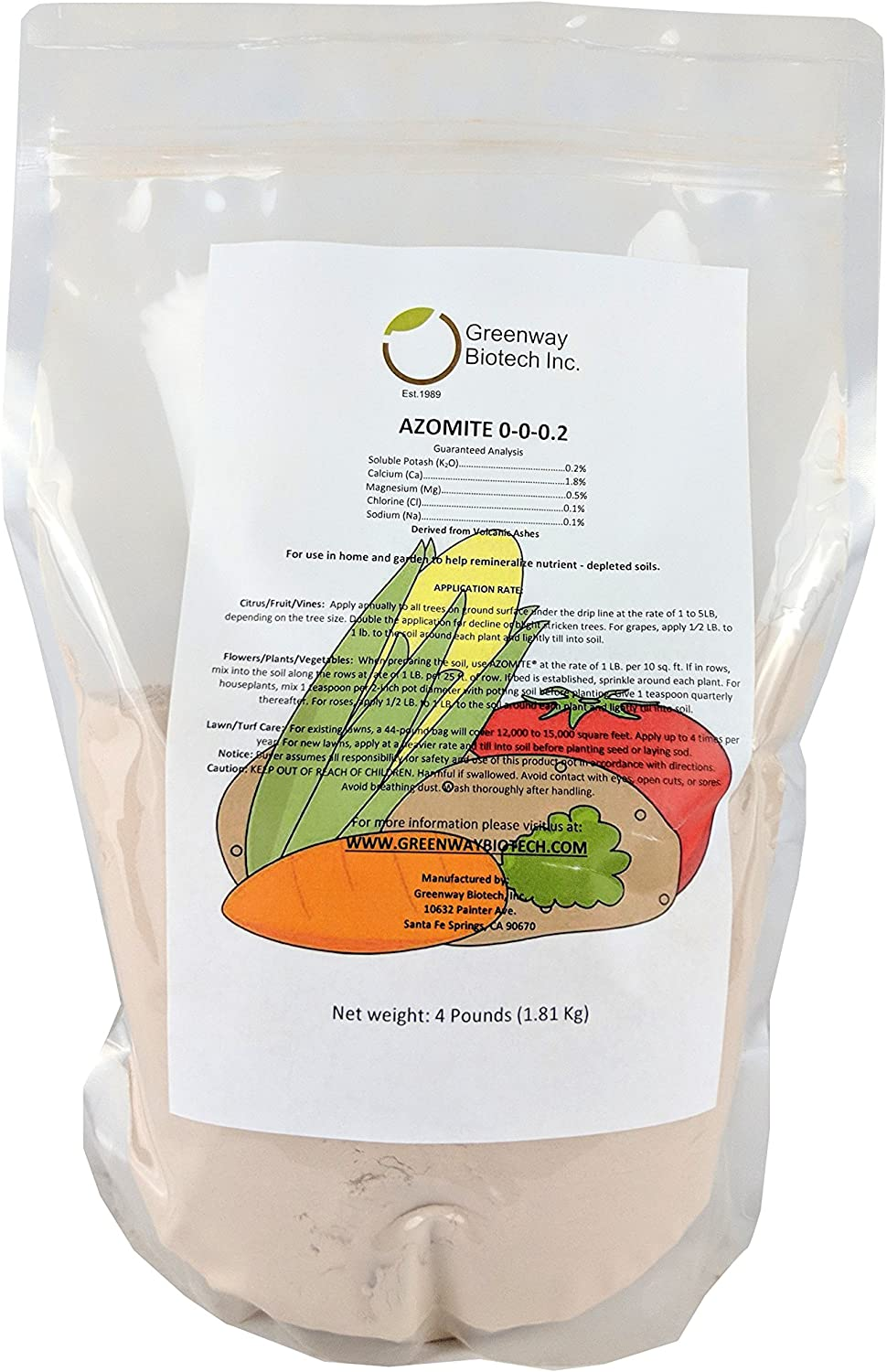"Azomite Rock Dust Volcanic Ash (Certified Dealer) Trace Minerals ""Greenway Biotech Brand"" 4 Pounds"