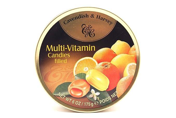 Cavendish Caramelos Multivitamínicos Rellenos con Sabor a Limón y Naranja - 1 Paquete de 9 x
