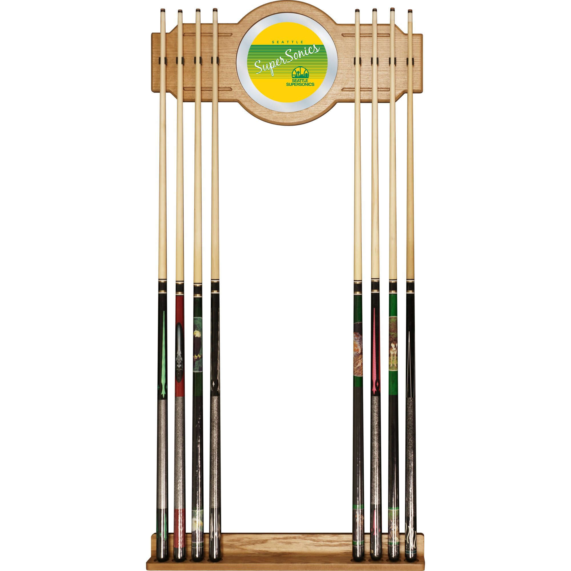 NBA Seattle SuperSonics Cue Rack with Mirror, One Size, Brown by Trademark Global