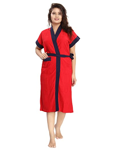 fe31ccade8 Buy Shopping Station Women 100% Cotton Bathrobe -Half Slevees Knee Length  with Pocket - Bath Robe is Available in Free Size Online at Low Prices in  India ...
