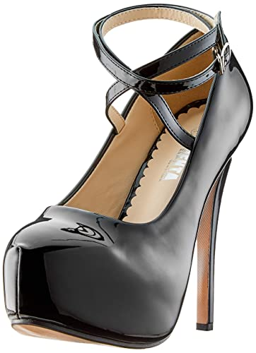 7a16499aa9c OCHENTA Women s Ankle Strap Platform Pump Party Dress High Heel (Beige  Sole) PU Black