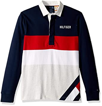a7182426 Tommy Hilfiger Adaptive Men's Rugby Shirt with Magnetic Buttons Custom Fit,  Navy Blazer/Multi