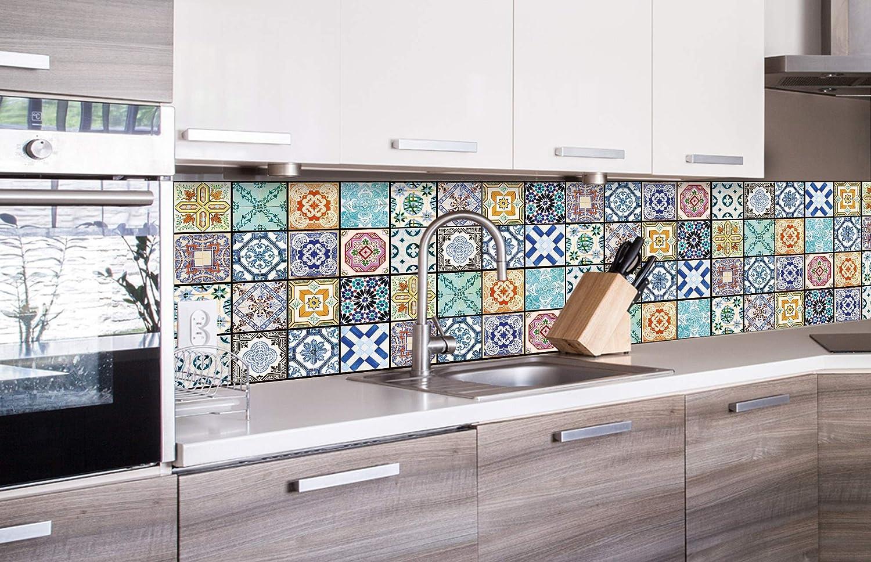 Decoraci/ón de Cocina Film Autoadhesivo de Cocina Azulejos DE LA Vendimia 180 x 60 cm