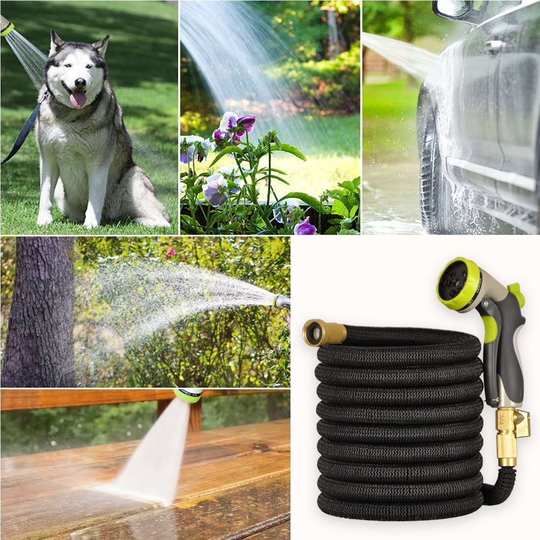 Expandable Garden Hose 50 ft Water Hose 8 Pattern Spray And High Pressure Spray Nozzle For Car, Garden, Lawn, Pet Shower, Plant Watering Hose