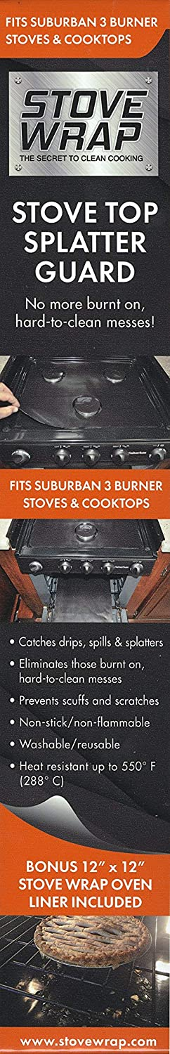 Stove Wrap 400 Protection from Spills, Splatters and Drips, Never Clean Your Stove Again, Well Almost Never, Fits Suburban 3-burner Stove Tops