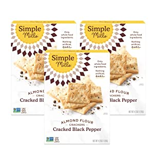 Simple Mills Almond Flour Crackers, Black Cracked Pepper, Gluten Free, Flax Seed, Sunflower Seeds, Corn Free, Good for Snacks, Made with whole foods, 3 Count (Packaging May Vary)