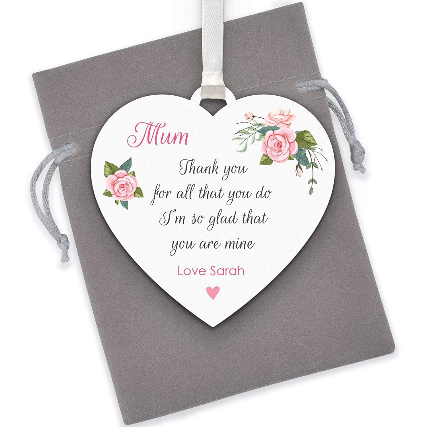 Mother/'s Day Birthday Personalised Heart Gift Tag Any Size