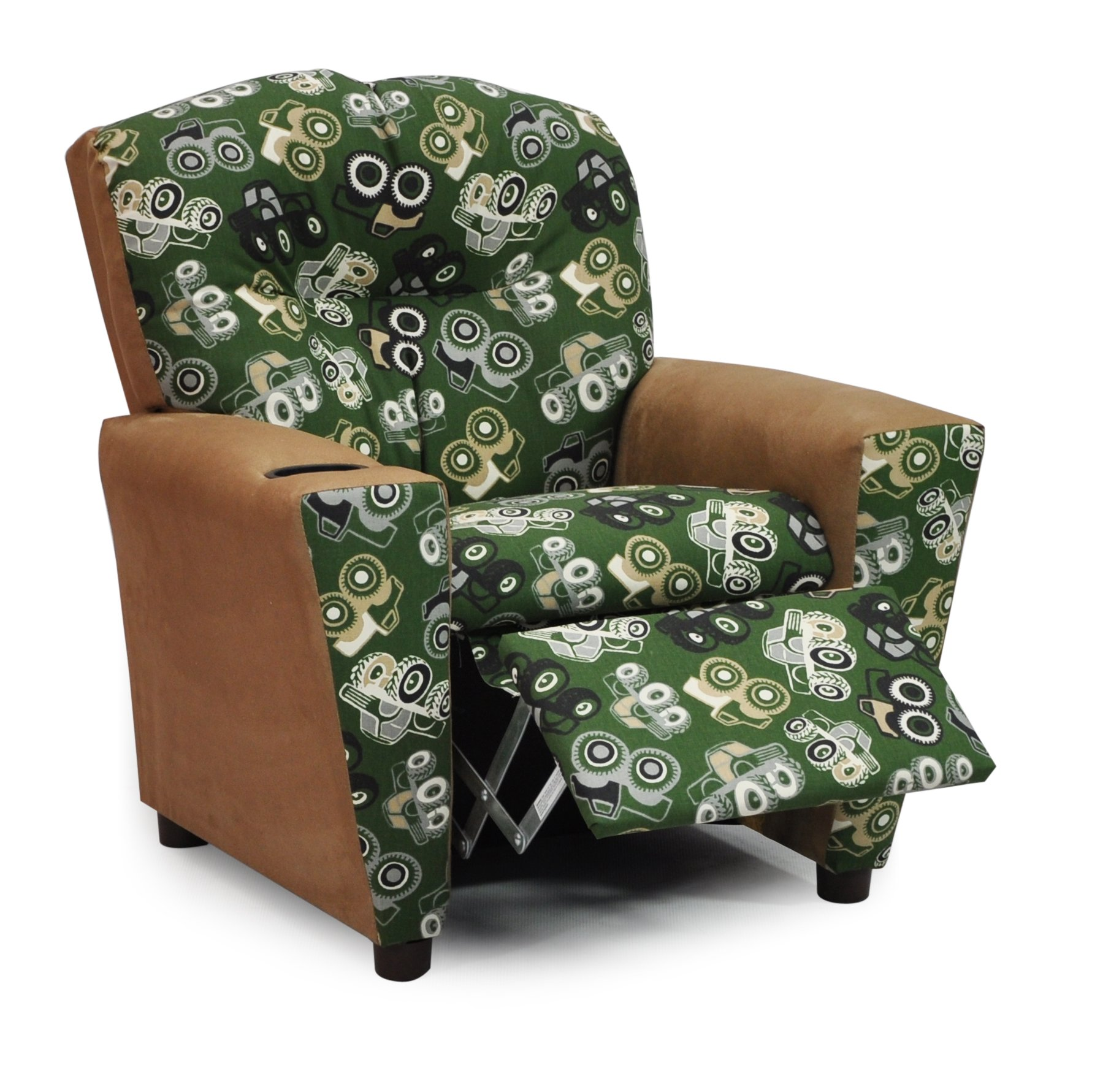 Childs Upholstered Reclining Armchair with Cup Holders - Kids Favorite Recliner Chair for Children - Choose from 2 Fun Truck Fabric Choices - Easy Care