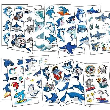 SZSMART Tatuajes Temporales para Niños Niñas, Delfines Tiburón ...