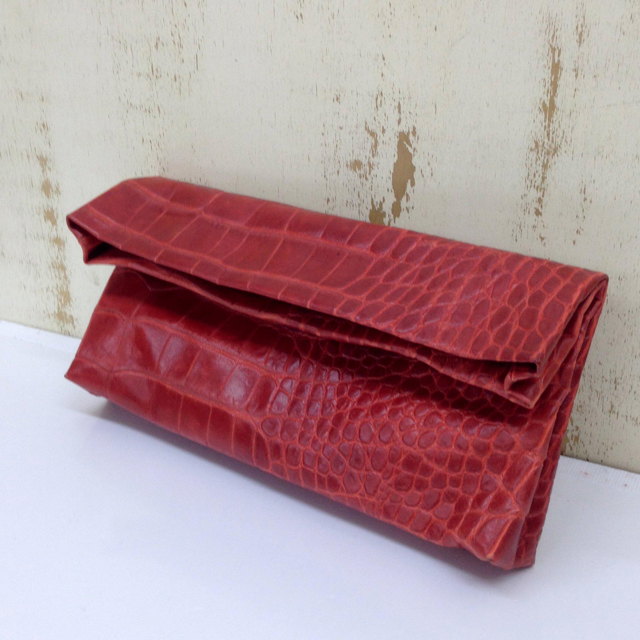 Foldover red Leather Clutch Handbag purse Crocodile Shoulder handbag Printed croco skin