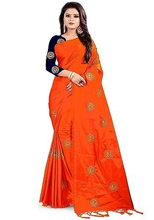 0aa5cfbc08549d Ethnic Vila Paper Silk Embroidered Saree with blouse piece (orange ...