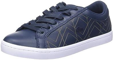 Lacoste Straightset Lace 417 1 Caw, Baskets Basses Femme, Bleu (NVY), 36 EU