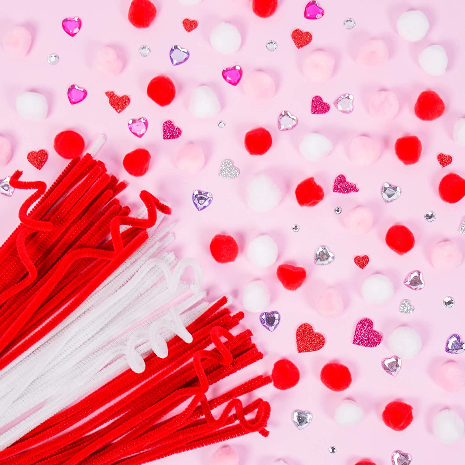 Pipe Cleaners Foam Stickers White /& Blue Poms Craft Sticks Red Horizon Group USA Patriotic Craft Embellishment Kit
