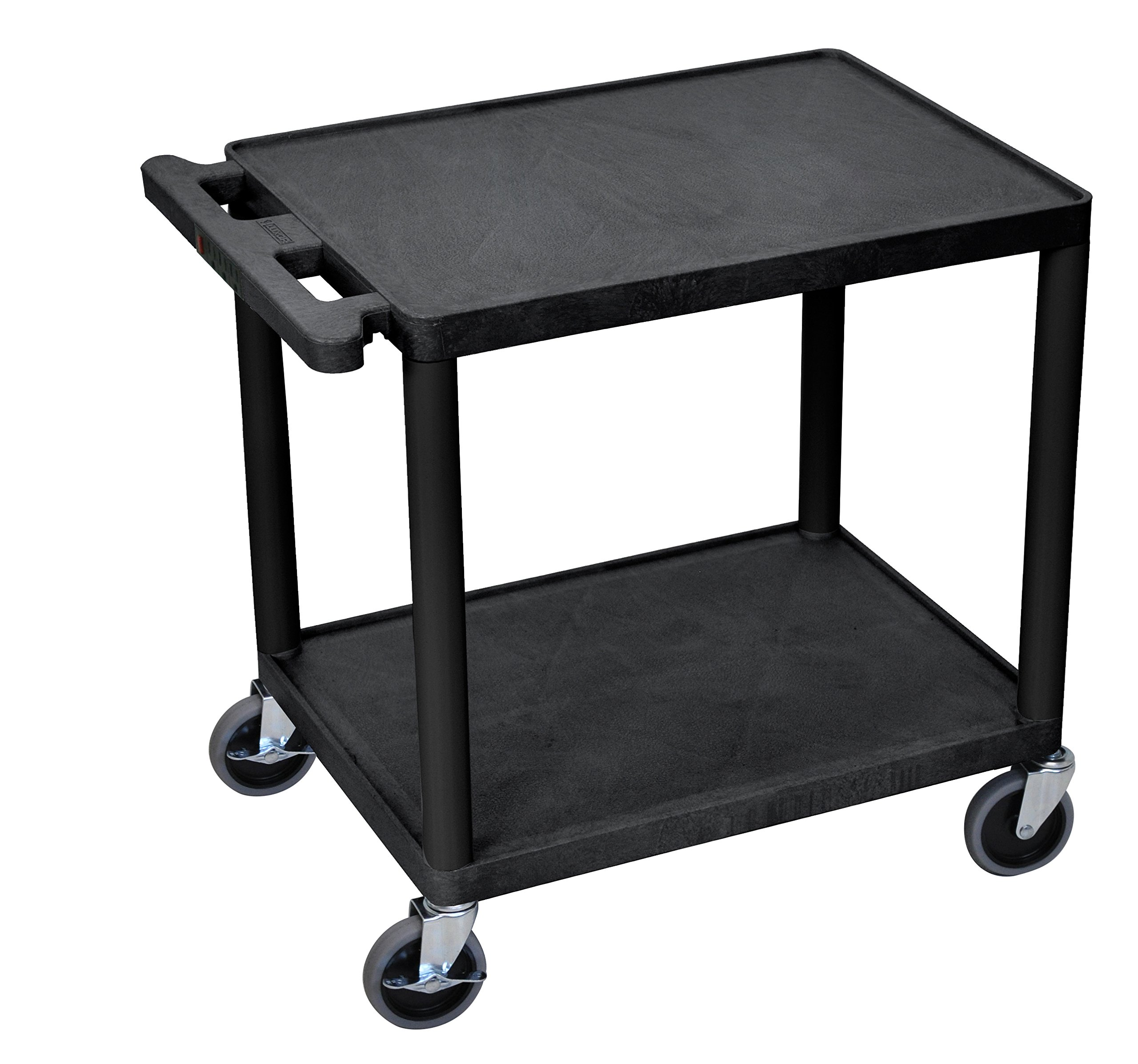 Offex Mobile 2 Shelf Adjustable Storage Utility Cart with Electric, 4 Casters - Black (OF-LP26E-B)