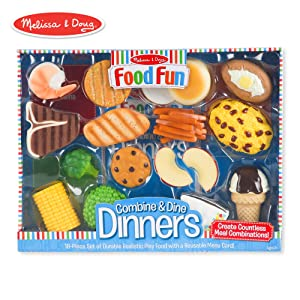 Melissa & Doug Food Fun Combine & Dine Dinners Toy, Blue