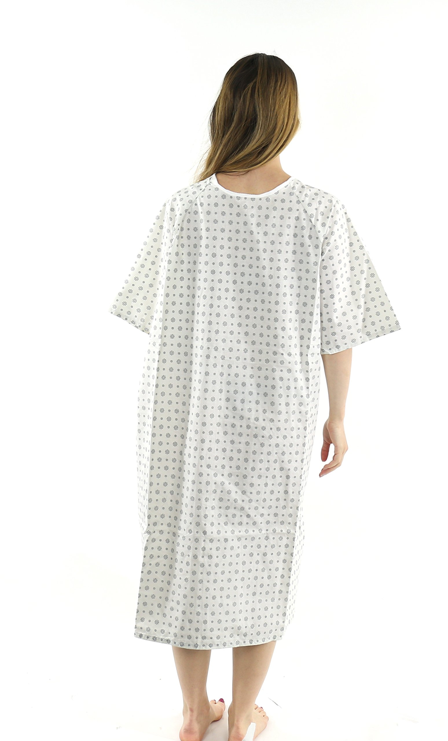 Hospital Gown (6 Pack) Cotton Blend , Useful, Fashionable Patient Gowns, Back Tie, 46'' Long & 66'' Wide, Fits All Sizes to 2xL Sizes Fit Comfortably - Hospital Gown (6 Pack)