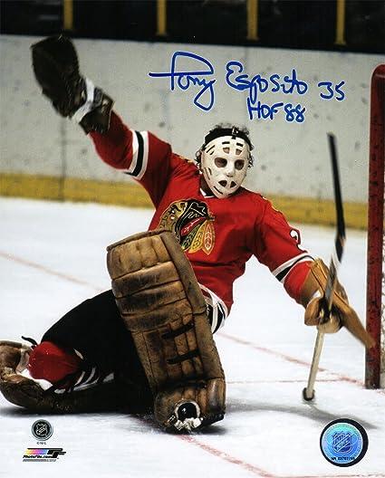 Tony Esposito Signed Chicago Blackhawks Goalie Puck Save Action 8x10 Photo w//HOF88