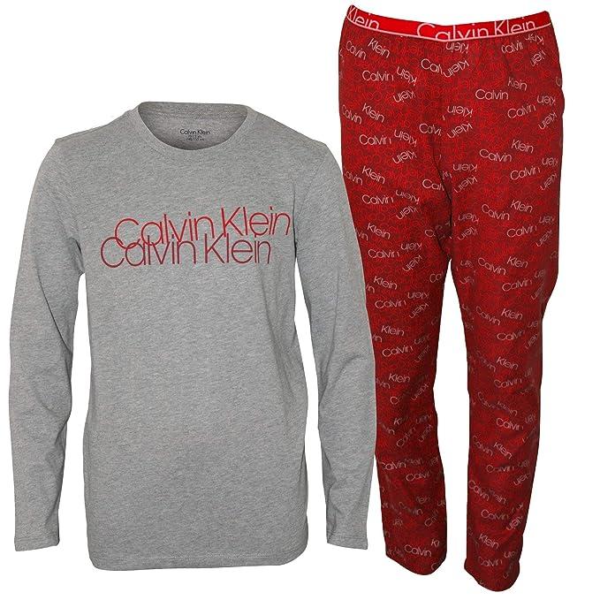 Calvin Klein Niños De Manga Larga Revueltos Logo Franela Pijama Conjunto, Rojo/Gris Heather Edad 10-12: Amazon.es: Ropa y accesorios