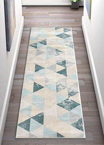 Well Woven Melody Mint Blue Geometric Tile Modern 3×12 2 7 x 9 10 Runner Area Rug Mint Blue Triangles Isometry Marble Distress Contemporary Carpet