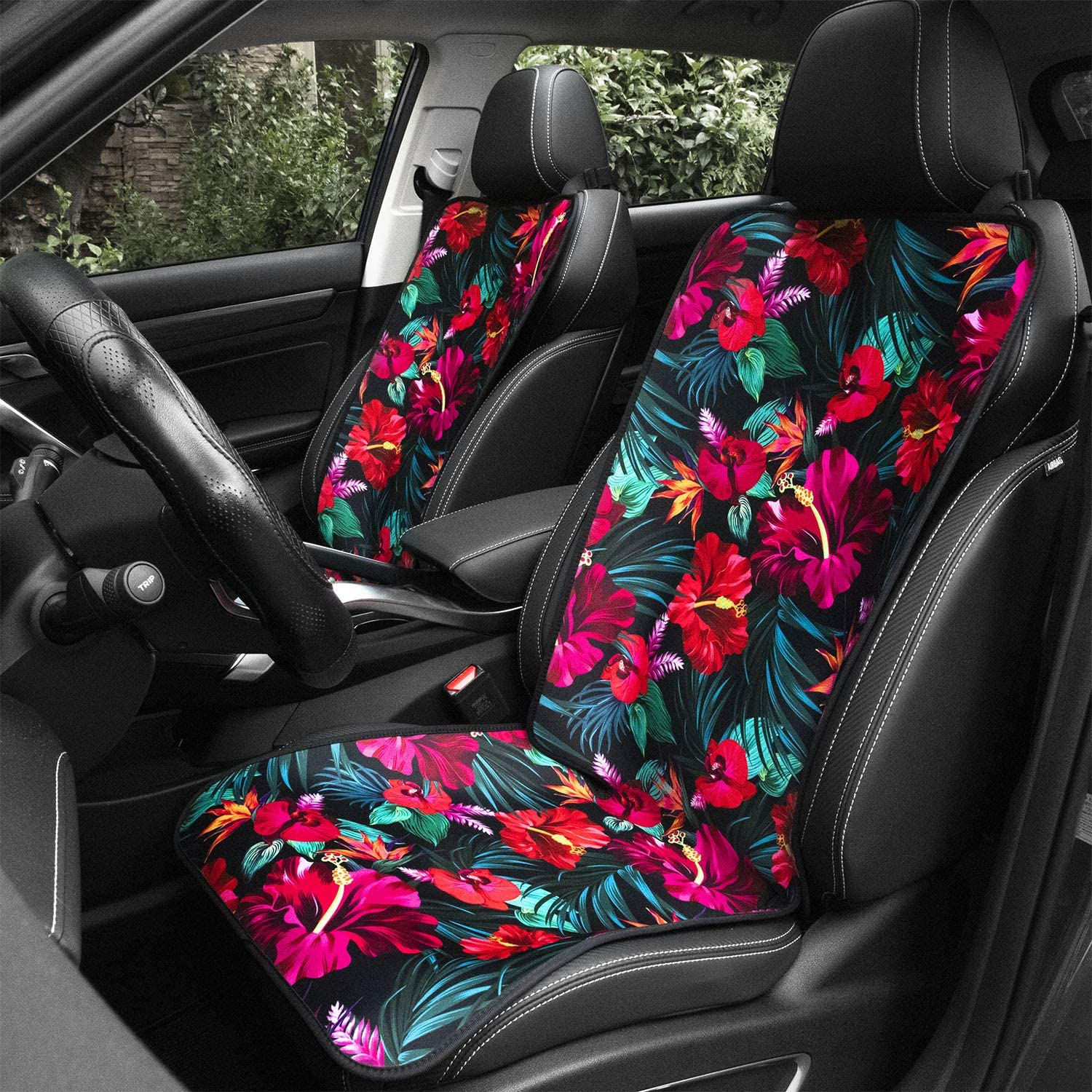 BIGCARJOB Elegant Car Headrest Cover for Women Blue Butterfly Print Elastic Seat Headrest Cover,Full Wrap Cover Set of 2 Universal Fit