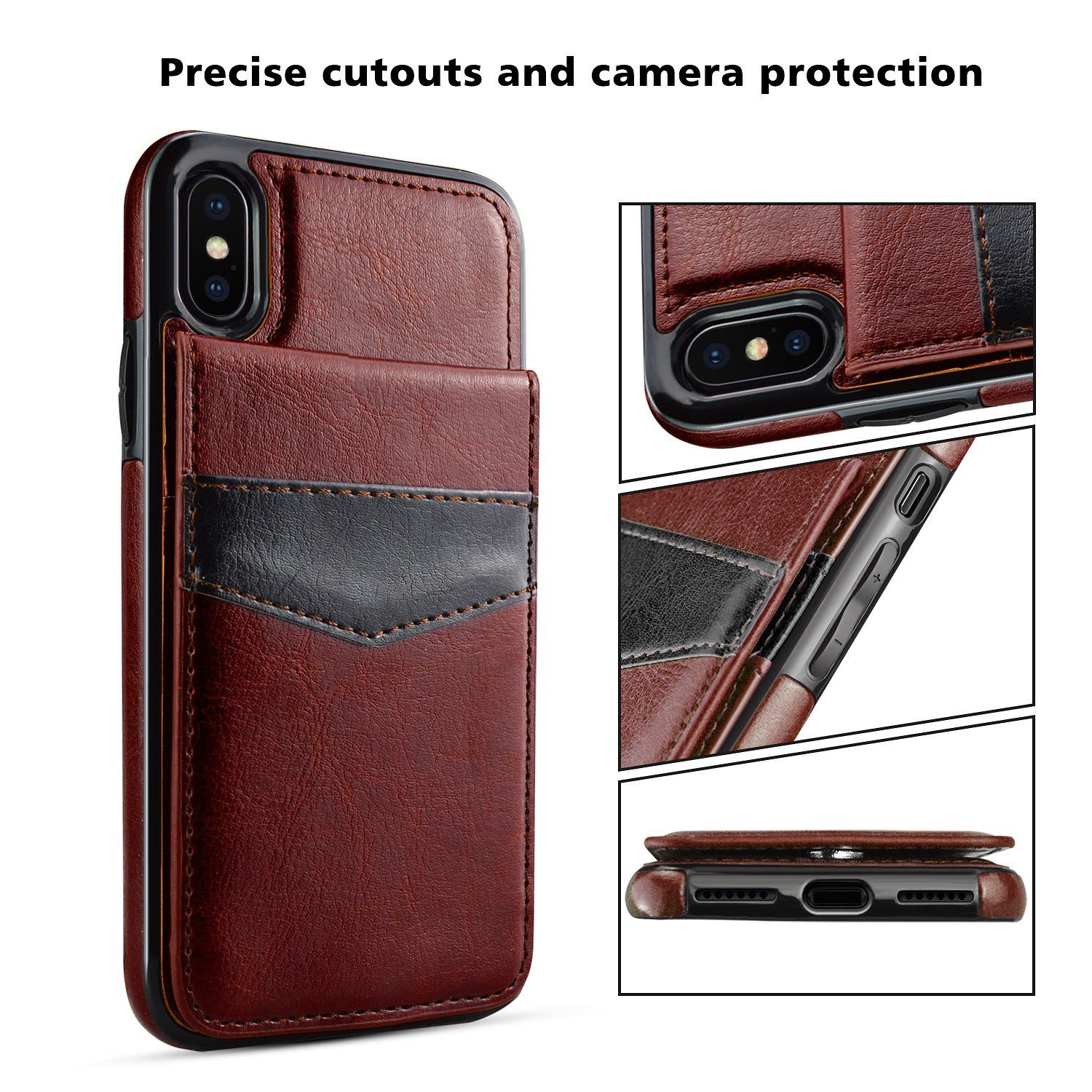 iPhone X Case, iPhone X Card Holder Case, LuckyBaby Premium Leather Folio Flip iPhone X Wallet Case with Credit Card Slots Shock-Absorbing Protective Case for iPhone X / iPhone 10 (2017) - Brown by LuckyBaby (Image #4)