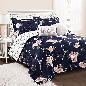 Lush Decor Navy Vintage Paris Rose Butterfly 7-Piece Comforter Set Reversible Bedding (Full/Queen)