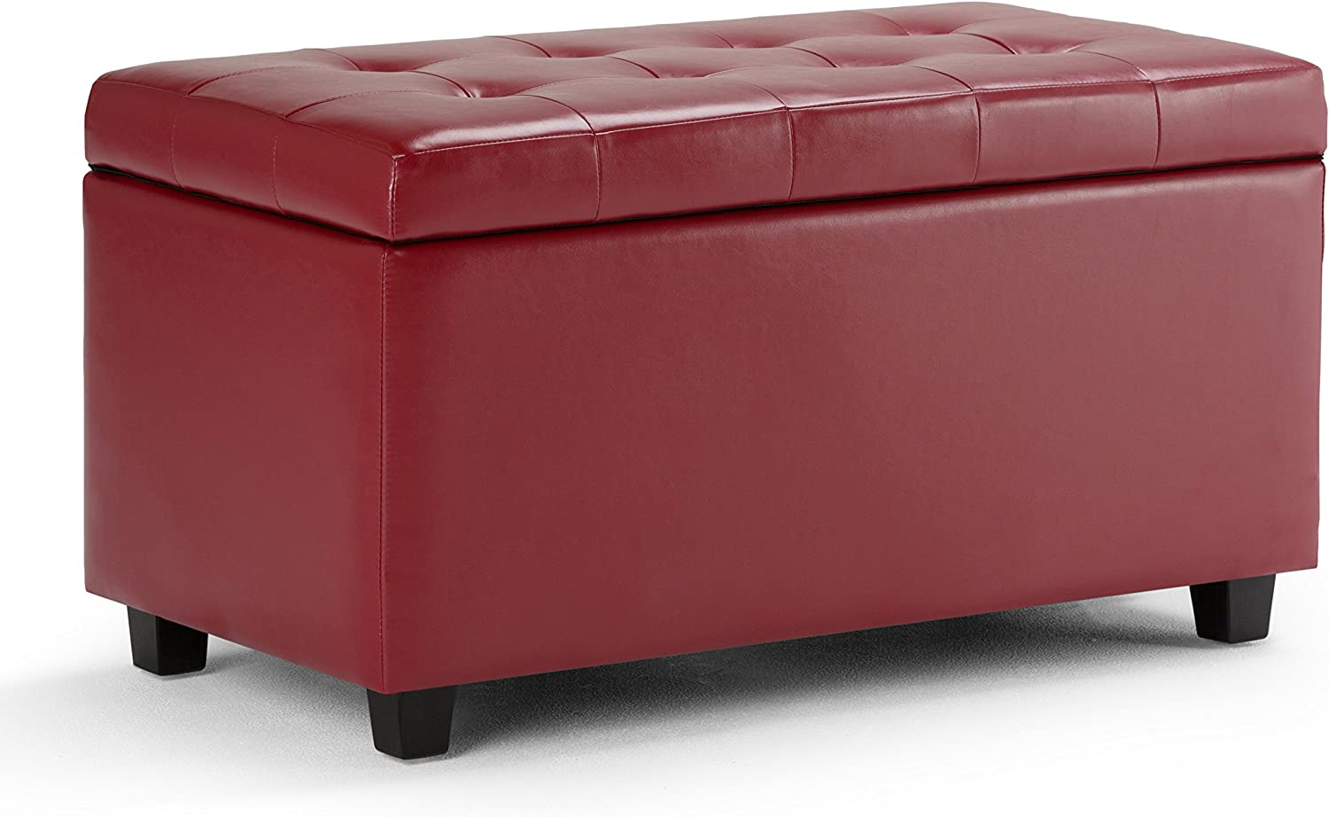 Simpli Home AY-S-38-RD Cosmopolitan 34 inch Wide ContemporaryStorage Ottoman in Red Faux Leather
