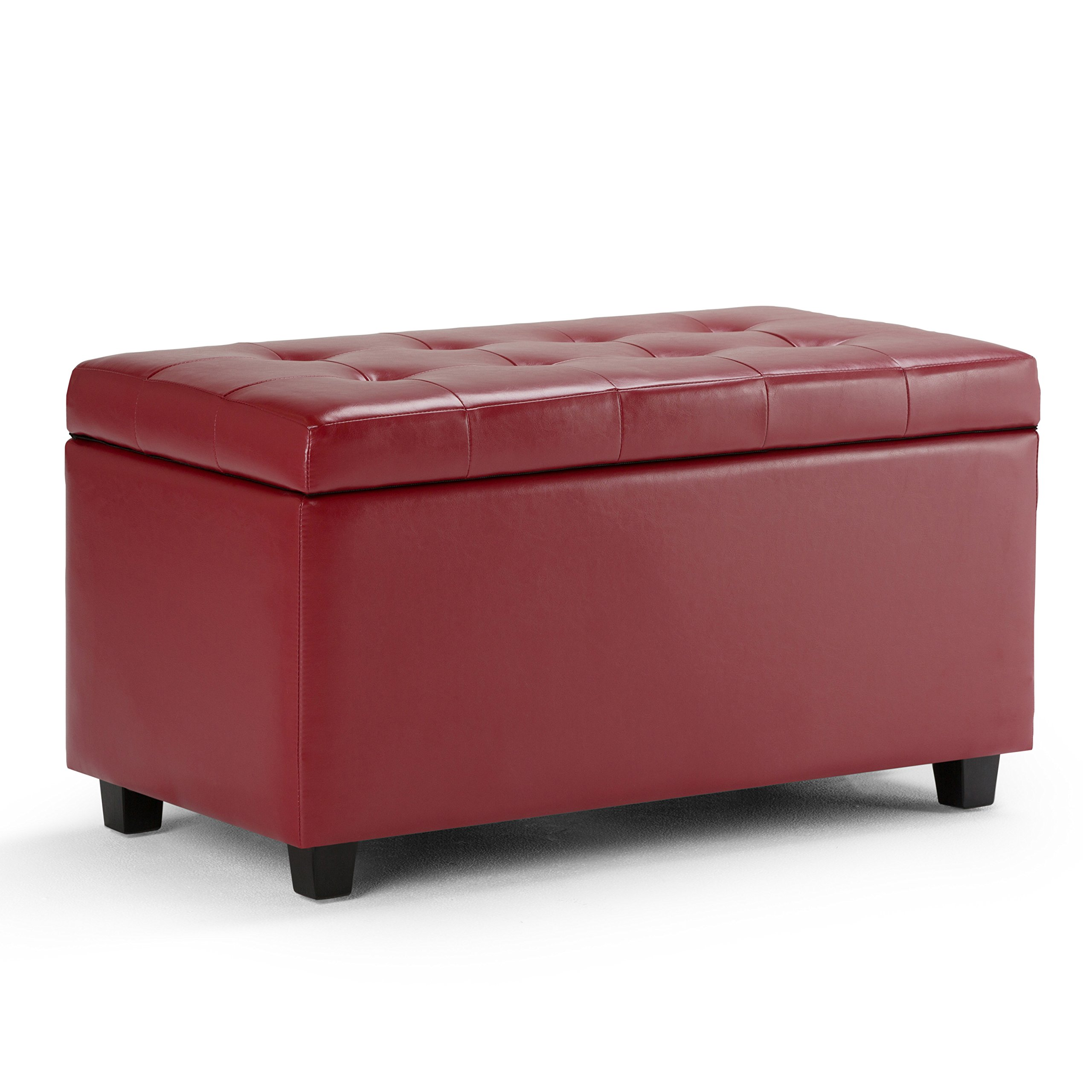 Simpli Home Cosmopolitan Faux Leather Rectangular Storage Ottoman Bench, Red