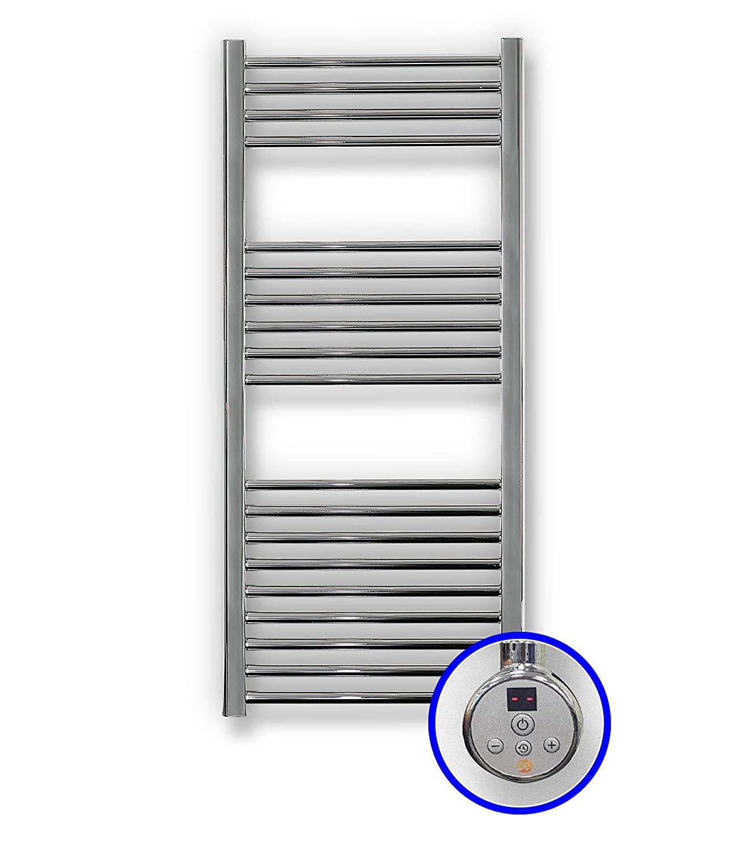 Misure 1120 x 500 mm Scaldasalviette Elettrico Con il Controllo TH02 400 Watts Radiatore Scaldasalviette Elettrico Cicsa Zeta E Portasciugamani In Colore Cromato 2 ANNI di Garanzia