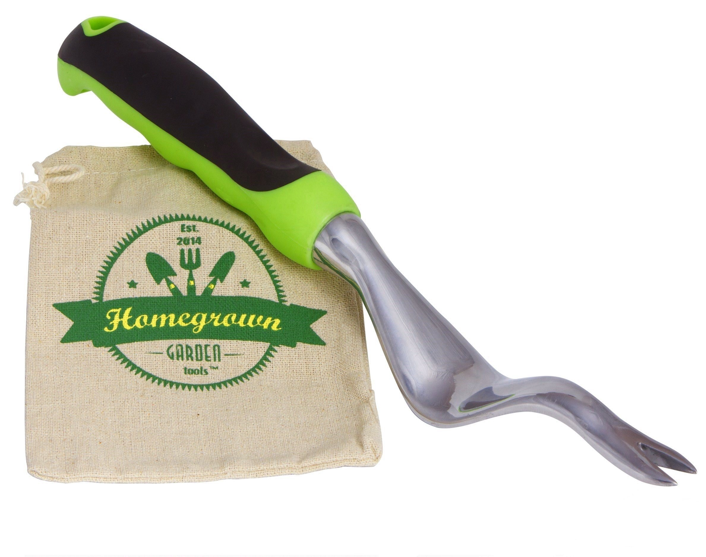 Hand Weeder & Manual Weed Puller with Large Ergonomic Handle; Best for Lawn and Garden Weeding, Includes Burlap Bag - Great Gardening Gift