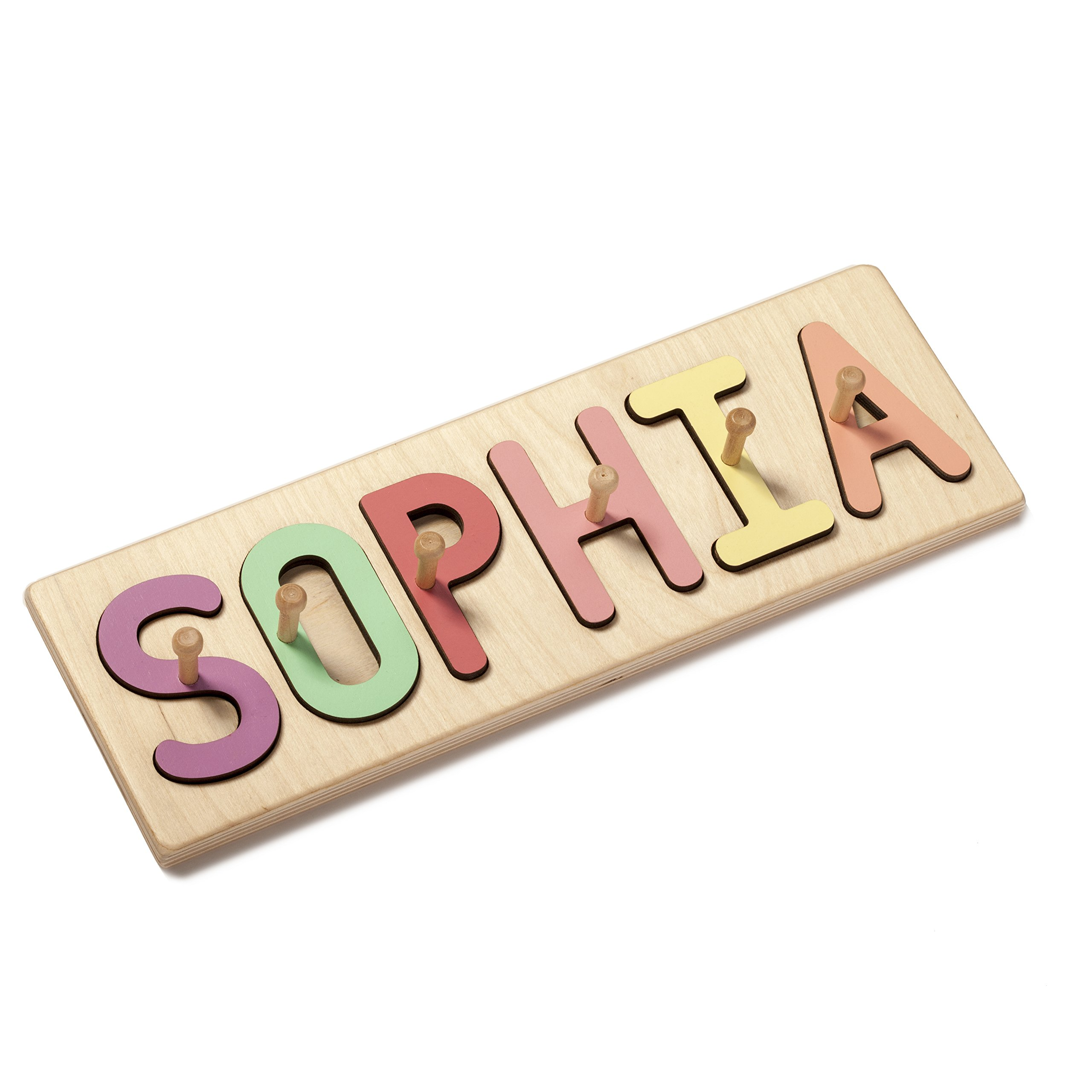South Bend Woodworks Kids Wooden Peg Name Puzzle -10-12 Characters (Including Spaces) by South Bend Woodworks