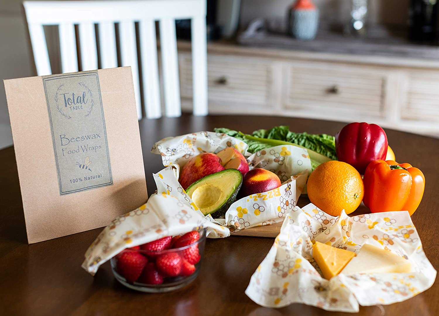 Beeswax Wrap Assorted 3 Pack - Organic Beeswax Reusable Food Wraps - Sustainable, Biodegradable, and Eco-Friendly - Food Storage for a Zero Waste Home