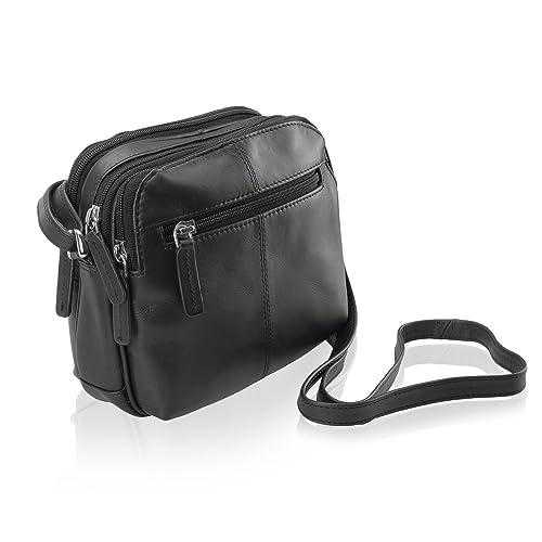0c1115cec09f Visconti 18939 Womens Small Leather Shoulder   Crossbody Bag (Black ...