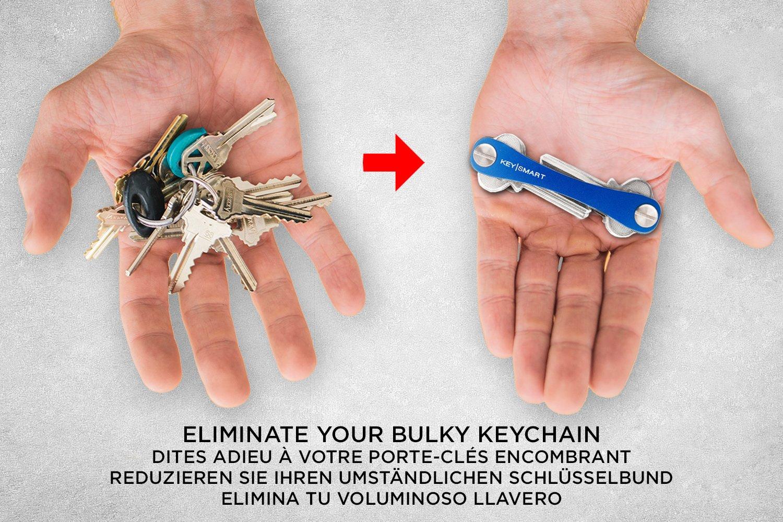 KeySmart Extended 2 /à 14 cl/és, Bleu Organisateur et Porte-cl/és compact