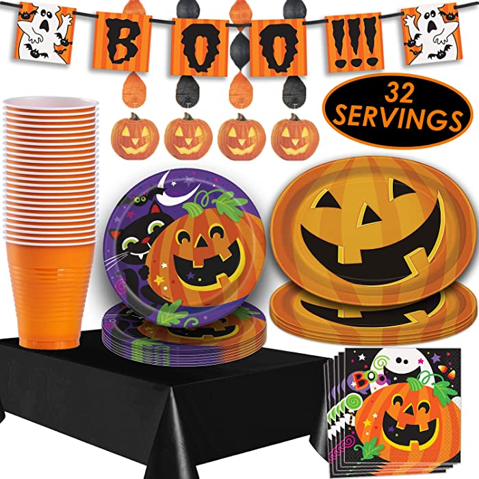 "Halloween Tableware and Decorations - 32 Guest - Dinner Plates, Party Cups, Napkins, Tablecloths, Serving Trays, Pumpkin Hanging Swirls, 4 Foot""BOO!!!"" Banner"