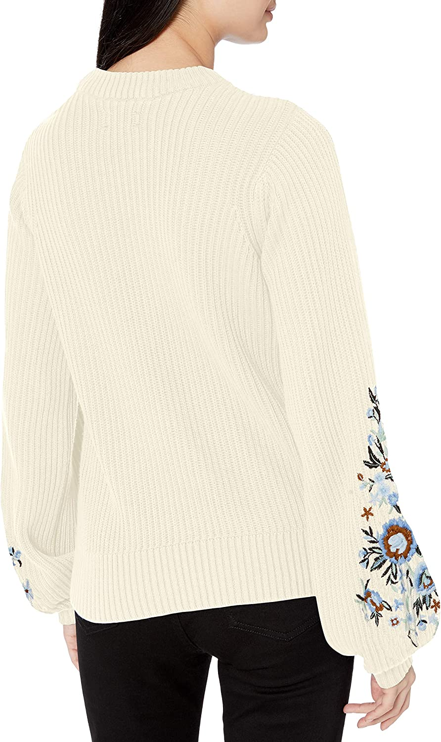 Lucky Brand Women's Embroidered Sleeve Pullover Sweater Snow White