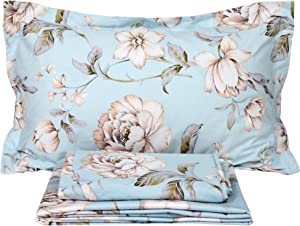FADFAY Shabby Floral Bed Sheet Set Farmhouse Bedding Blue Cotton Winter Bedding Deep Pocket Sheets 4-Piece King Size