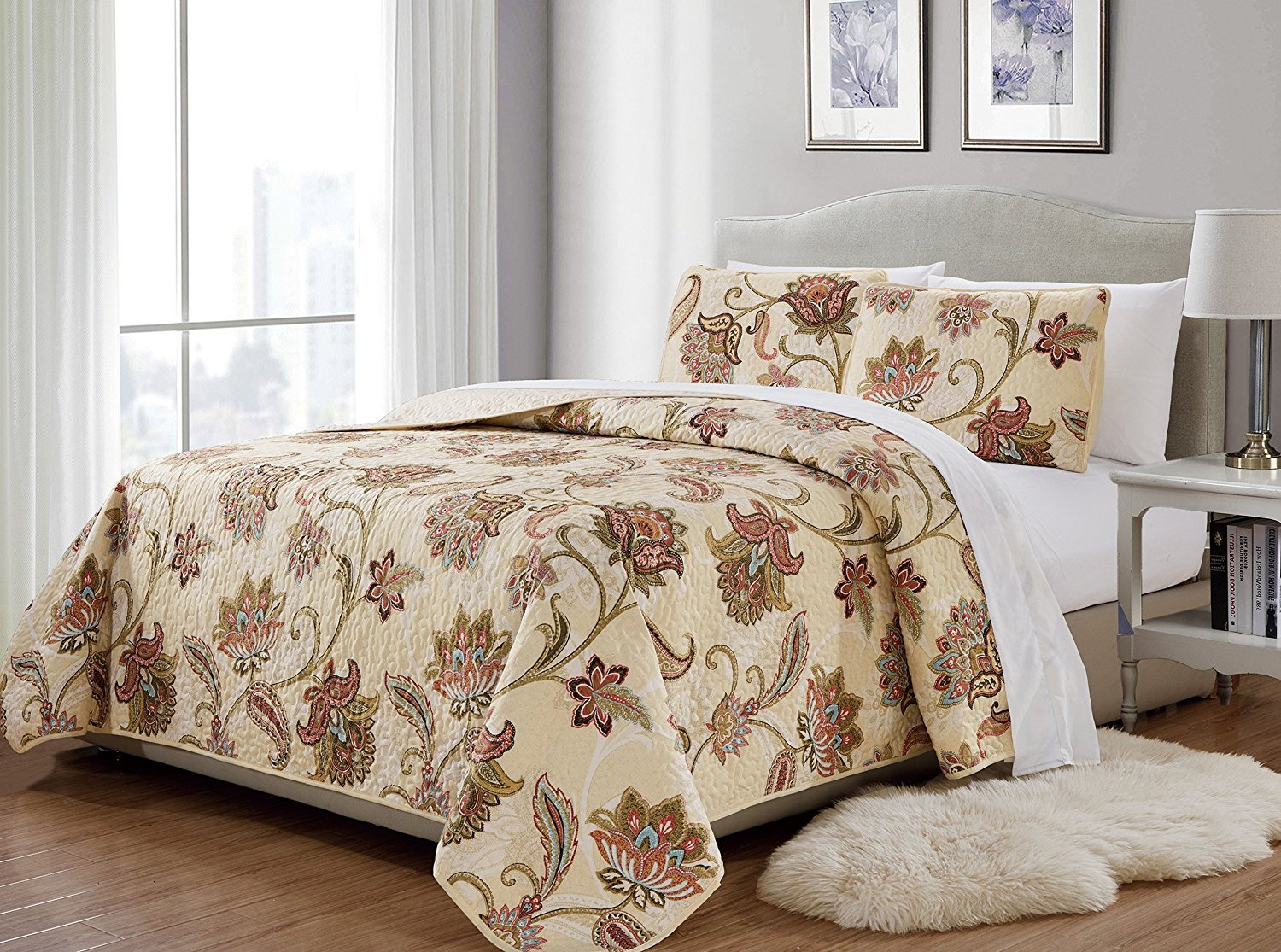 MK Home 2pc Twin/Twin Extra Long Bedspread Quilted Print Floral Beige Red Blue Taupe Over Size New # Jane