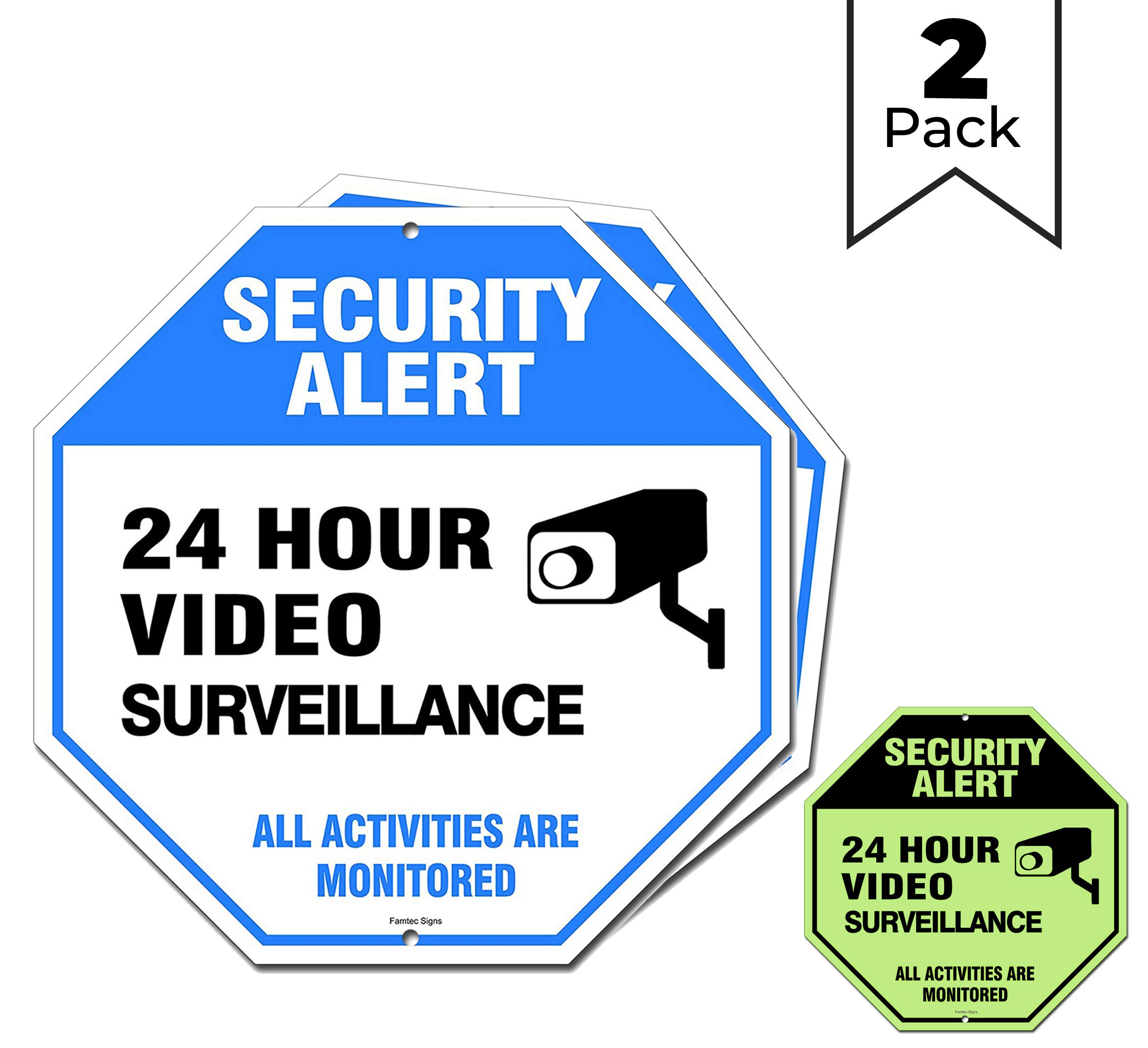 Video Surveillance Sign Outdoor | No Trespassing Glow-in-The-Dark Large Warning Sign | 12''x12'' Aluminum | Indoor Outdoor | Home Business CCTV Security Camera | Waterproof UV Protected | Blue | 2 Pack by Famtec
