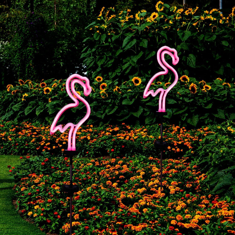 X-PREK 2 Pack Solar Garden Lights Outdoor Decorative,Waterproof Neon Flamingo Stake Light for Yard Patio Pathway Lawn Decor