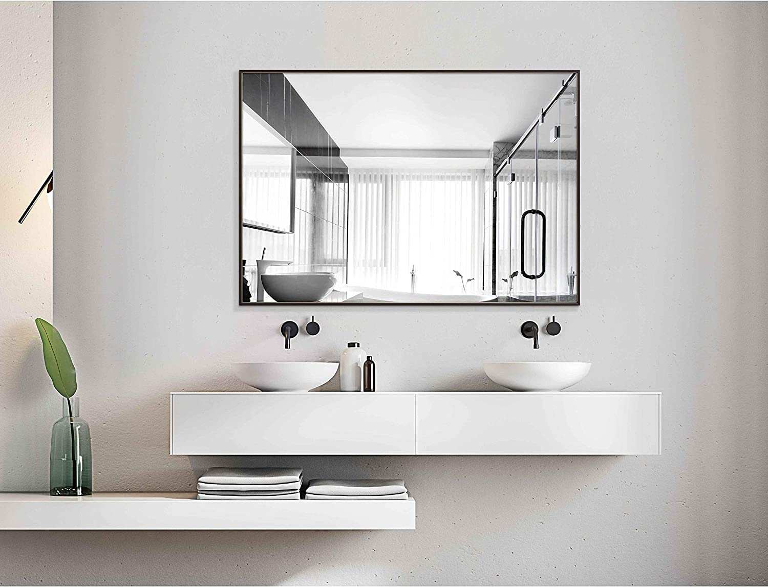 H&A Bathroom Mirrors Wall Mounted, Modern Black Frame Mirror for Bathroom,  Bedroom, Entryways, Living Room Hanging Horizontal or Vertical Commercial
